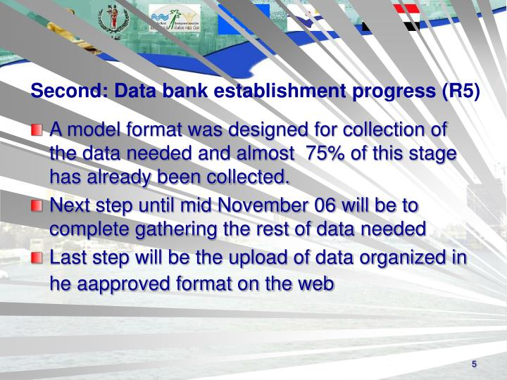 Second: Data bank establishment progress (R5)