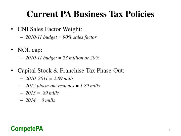 Current PA Business Tax Policies