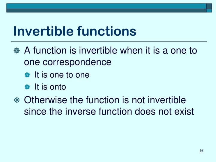Invertible functions