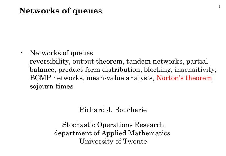Networks of queues