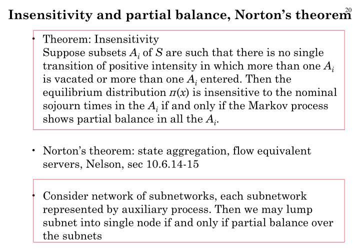 Insensitivity and partial balance, Norton's theorem