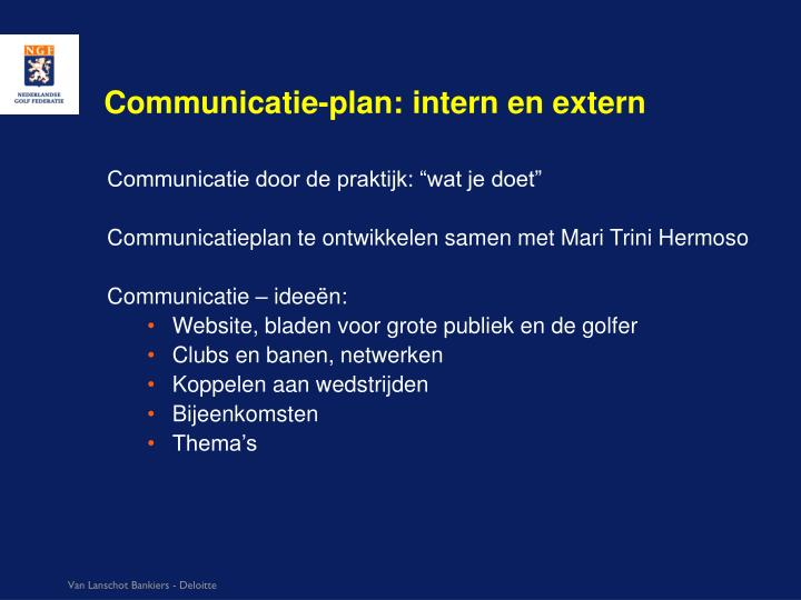 Communicatie-plan: intern en extern