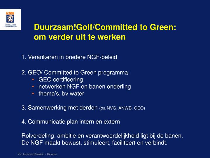Duurzaam!Golf/Committed to Green: