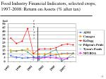 food industry financial indicators selected crops 1997 2008 return on assets after tax