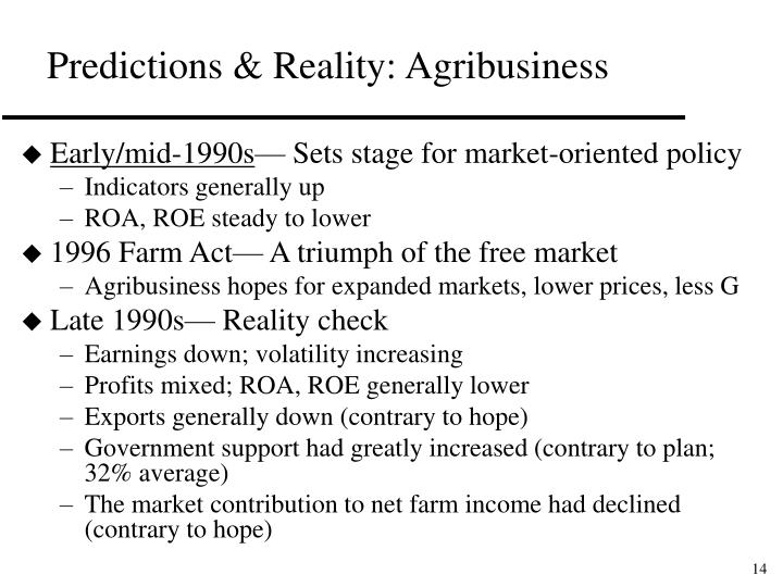 Predictions & Reality: Agribusiness