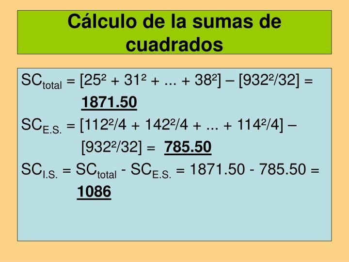 Cálculo de la sumas de cuadrados