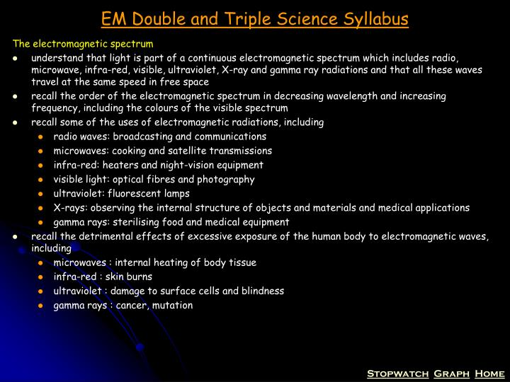 Em double and triple science syllabus