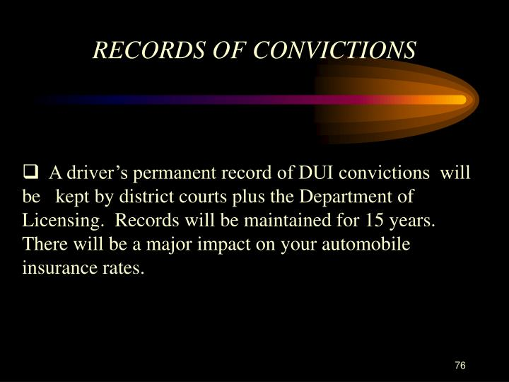RECORDS OF CONVICTIONS