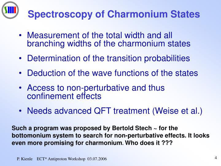 Spectroscopy of Charmonium States