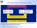 the holy grail of symmetry tests