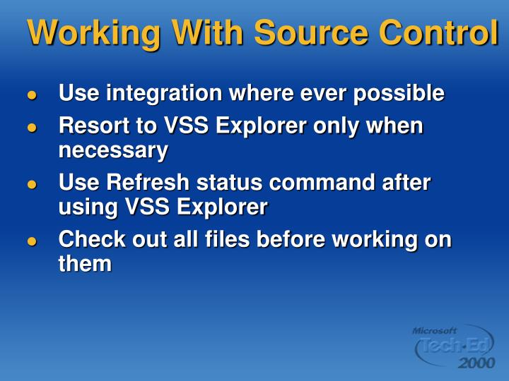 Working With Source Control