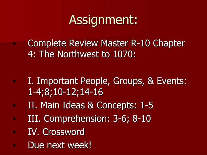 Assignment: