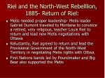 riel and the north west rebelllion 1885 return of riel