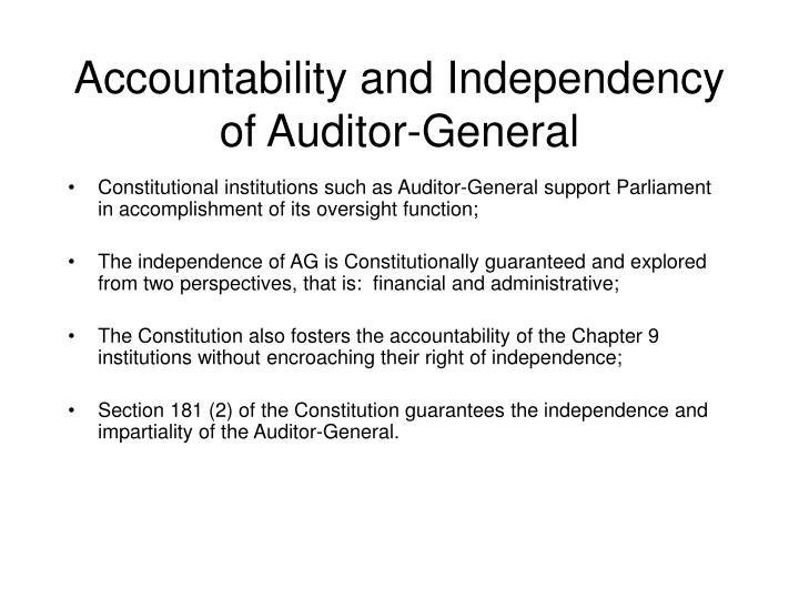 Accountability and Independency of Auditor-General