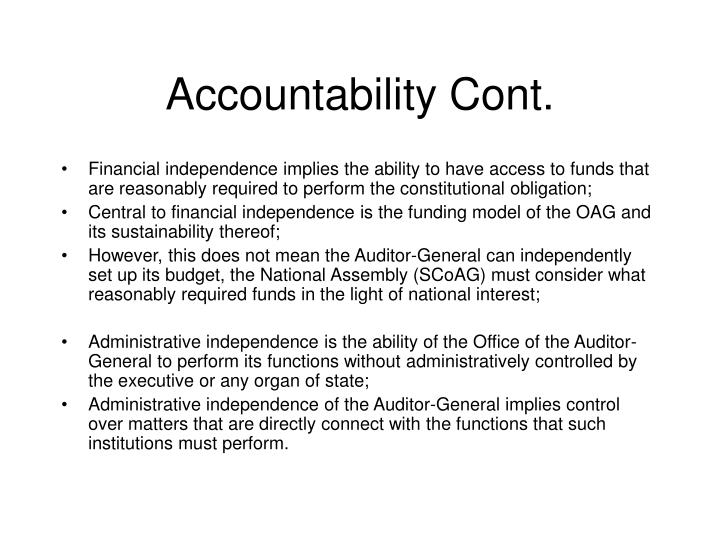 Accountability Cont.