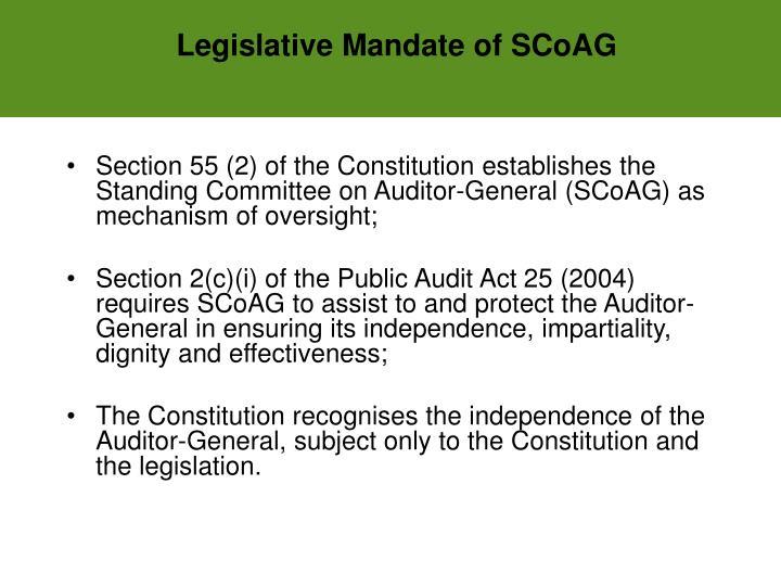 Legislative Mandate of SCoAG