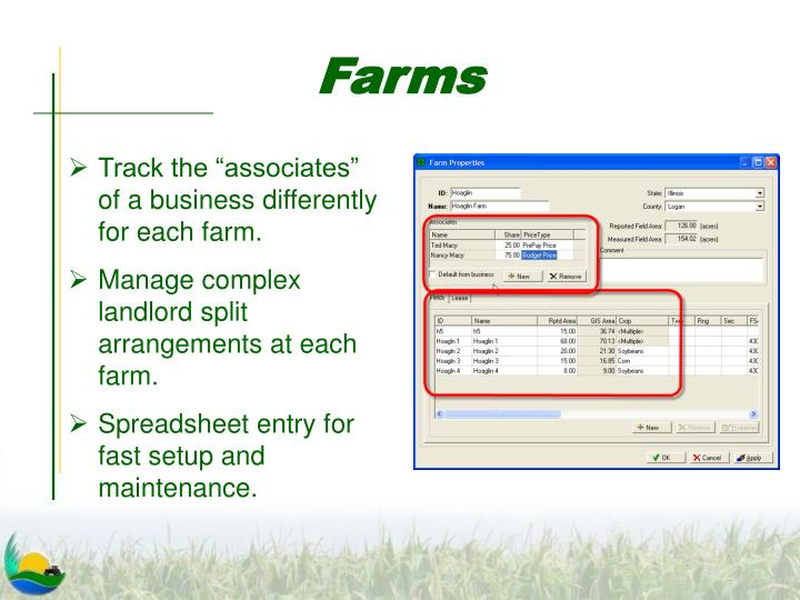 "Track the ""associates"" of a business differently for each farm."