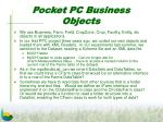 pocket pc business objects