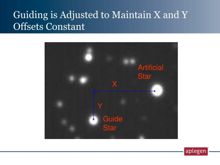Guiding is Adjusted to Maintain X and Y Offsets Constant