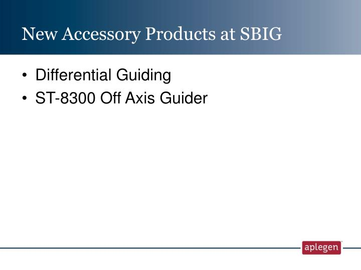 New Accessory Products at SBIG