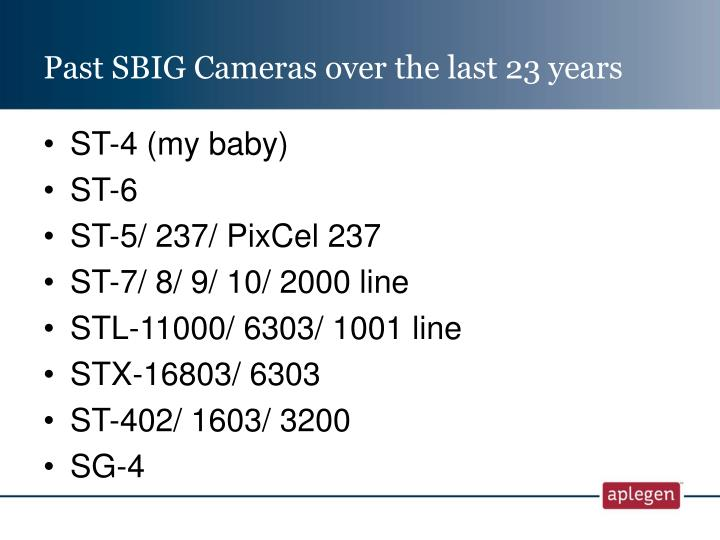 Past sbig cameras over the last 23 years