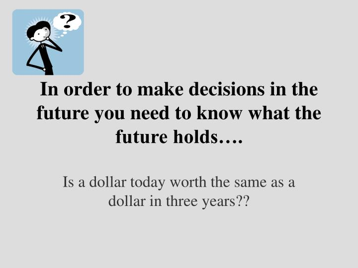 In order to make decisions in the future you need to know what the future holds….