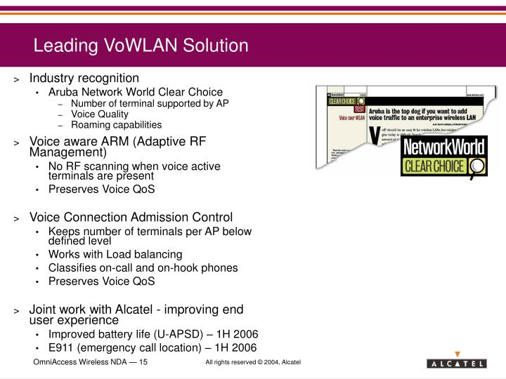 Leading VoWLAN Solution