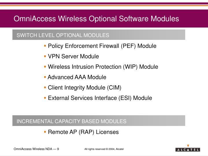 OmniAccess Wireless Optional Software Modules
