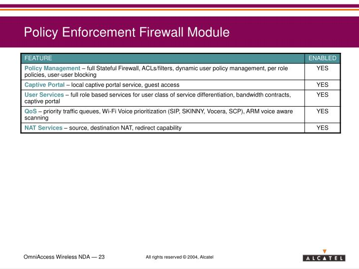 Policy Enforcement Firewall Module