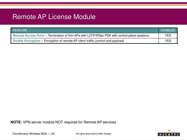 Remote AP License Module