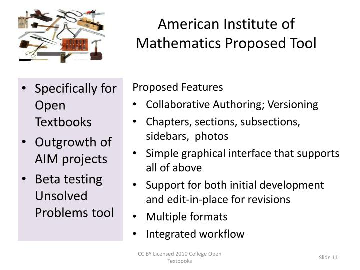 American Institute of Mathematics Proposed Tool