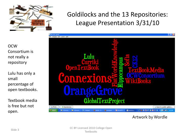 Goldilocks and the 13 repositories league presentation 3 31 10