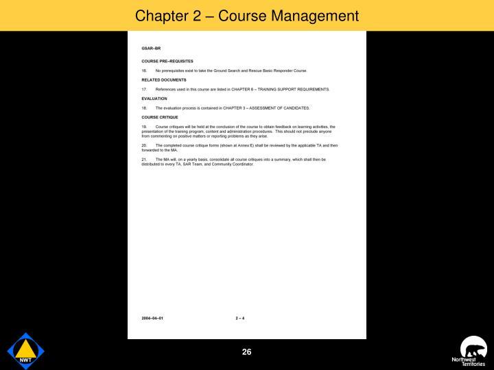 Chapter 2 – Course Management
