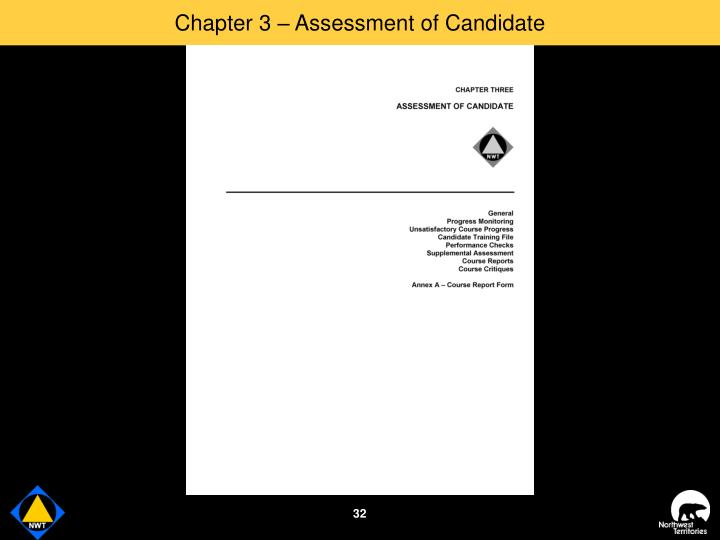 Chapter 3 – Assessment of Candidate