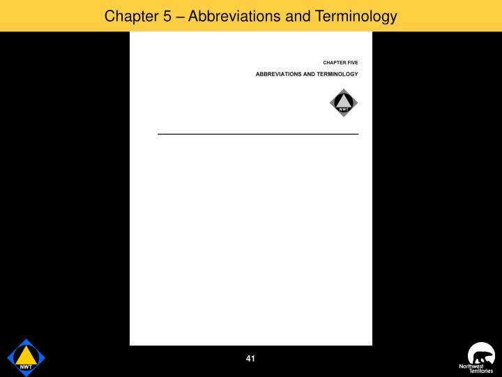 Chapter 5 – Abbreviations and Terminology