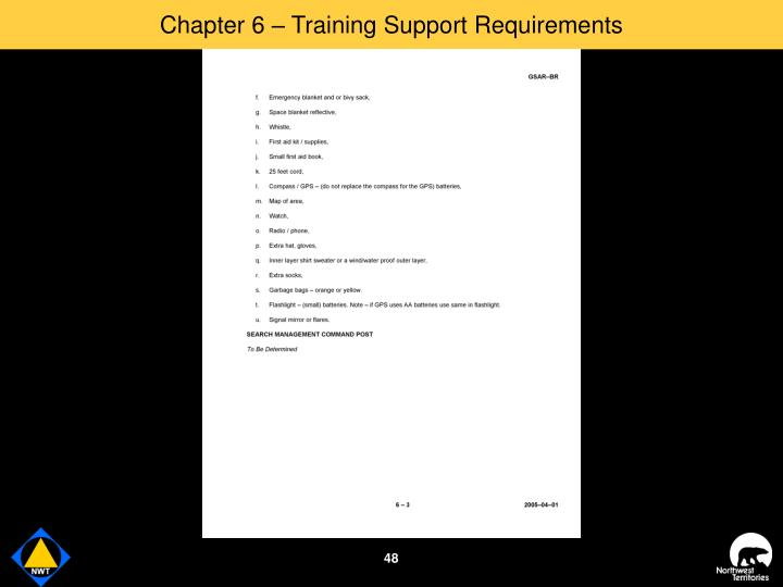 Chapter 6 – Training Support Requirements
