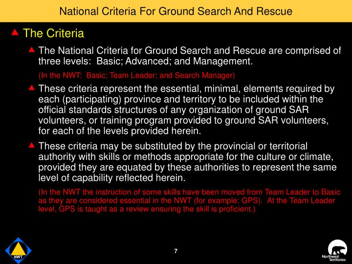 National Criteria For Ground Search And Rescue