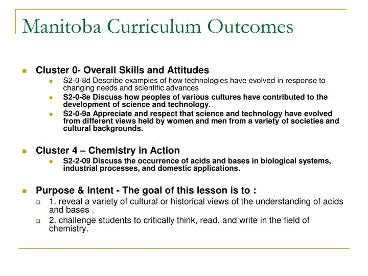Manitoba Curriculum Outcomes