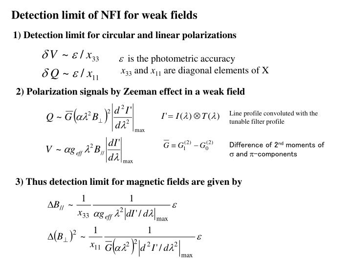 Detection limit of NFI for weak fields