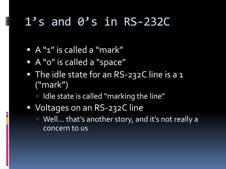 1's and 0's in RS-232C