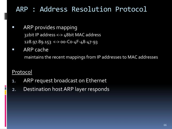 ARP : Address Resolution Protocol