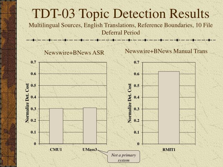 TDT-03 Topic Detection Results