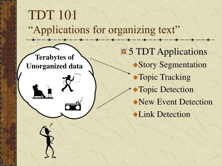Tdt 101 applications for organizing text