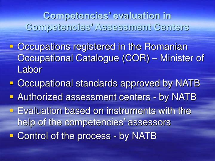 Competencies' evaluation in Competencies' Assessment Centers