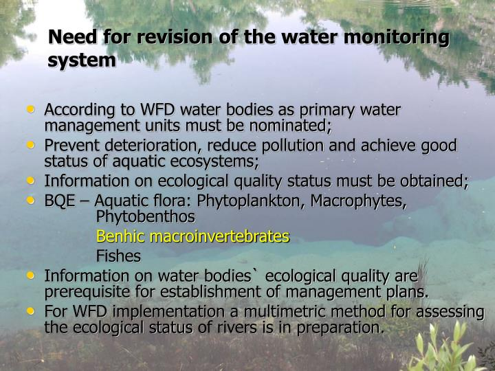 Need for revision of the water monitoring system