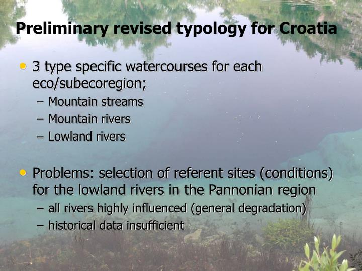Preliminary revised typology for Croatia