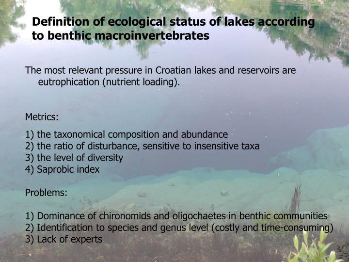 Definition of ecological status of lakes according to benthic macroinvertebrates