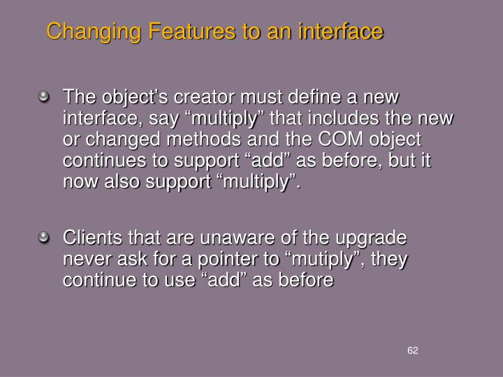 Changing Features to an interface