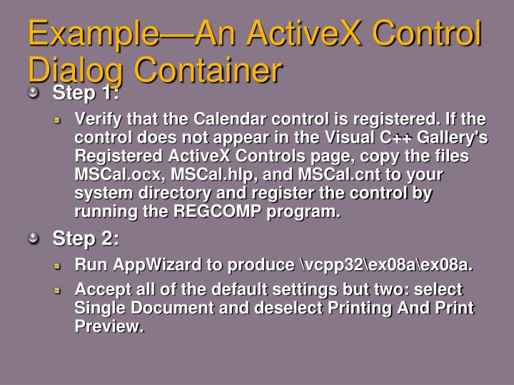 Example—An ActiveX Control Dialog Container
