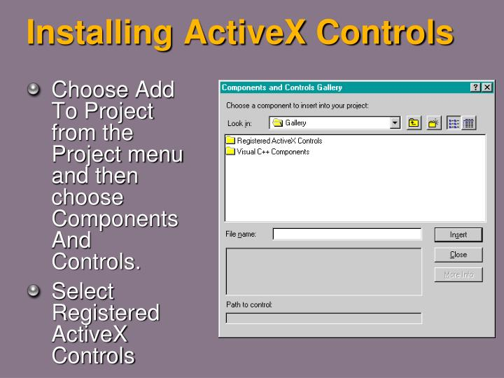 Installing ActiveX Controls